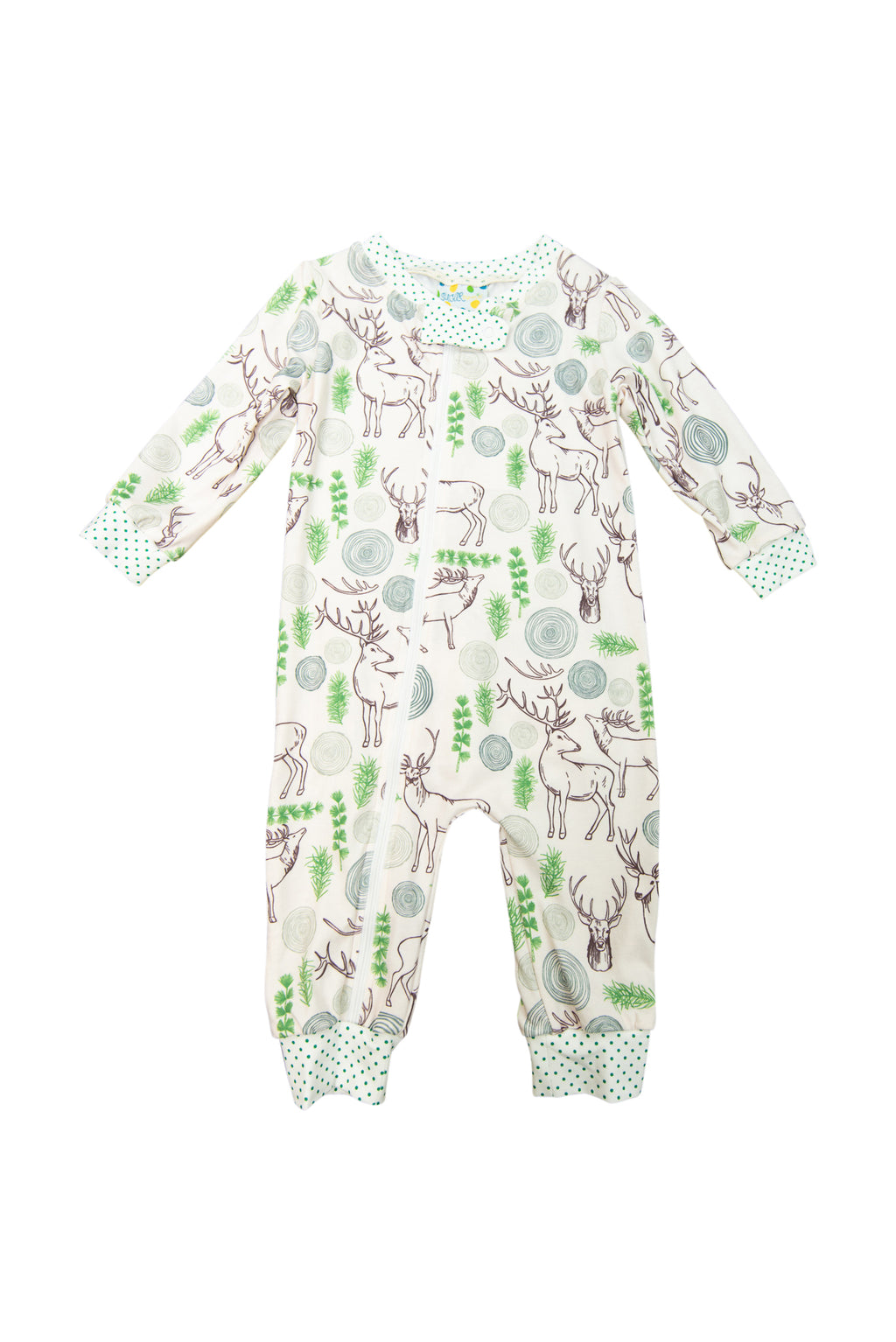 Girls Deer Zip Up Ruffle Flap PJ