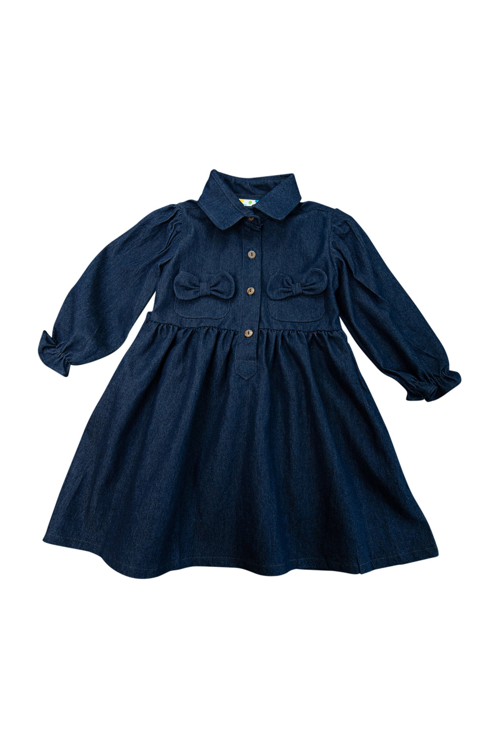 Girls Collared Denim Shirt Dress