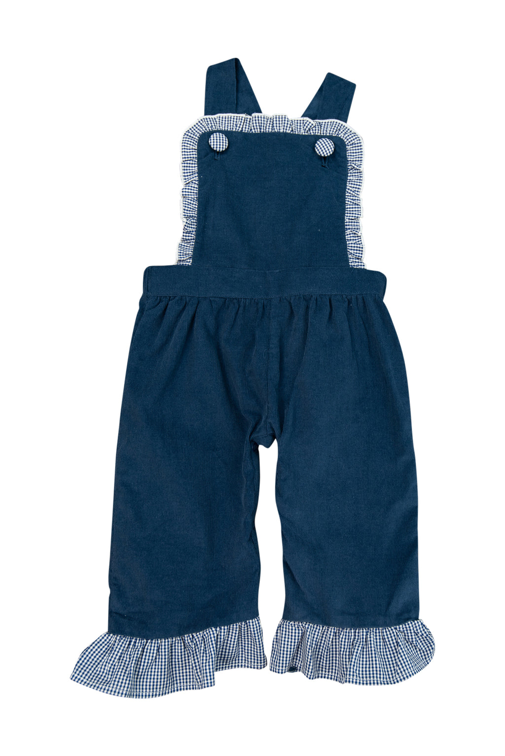 Girls Navy Corduroy/Gingham Romper