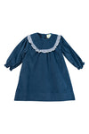 Girls Navy Corduroy/Gingham Dress