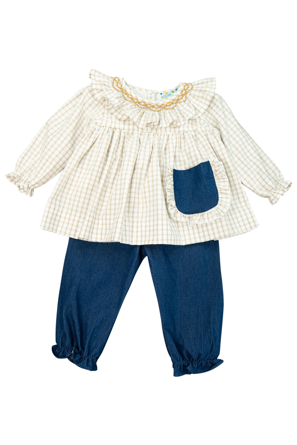 Girls Denim French Knot Initial Pant Set