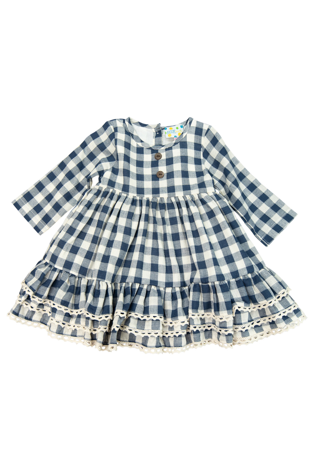 Girls Navy Linen Dress