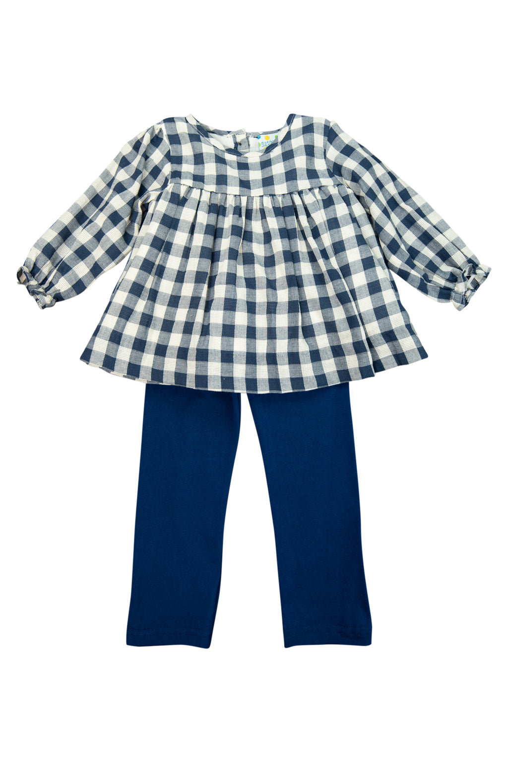Girls Navy Linen Pants Set