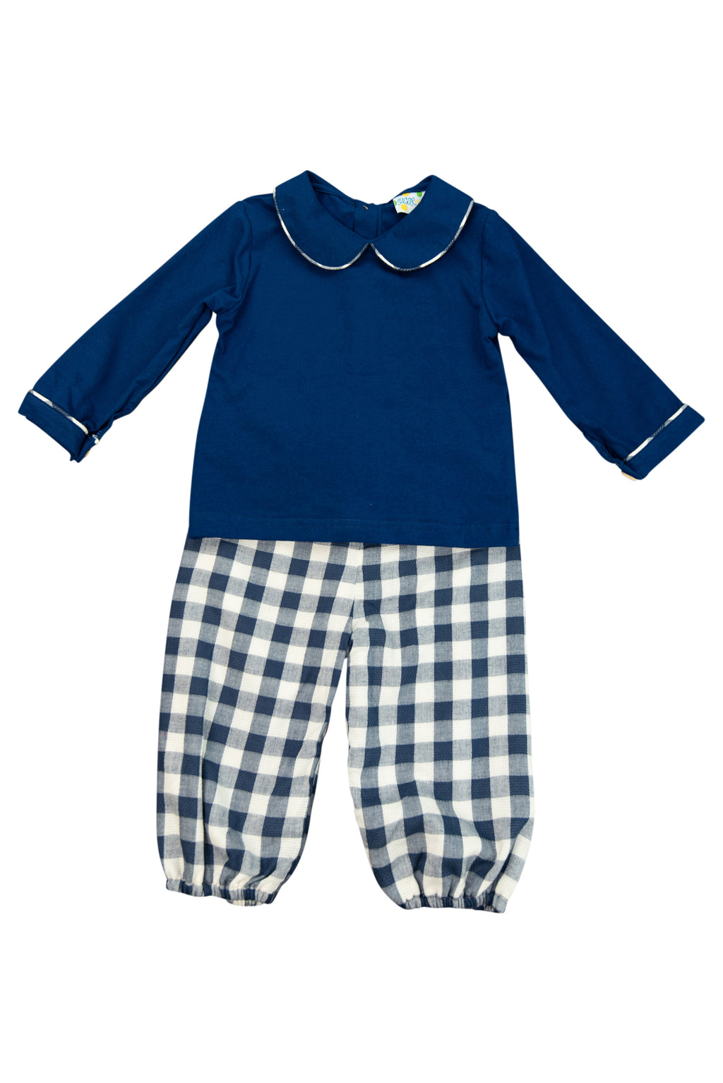 Boys Navy Linen Bubble Pants Set