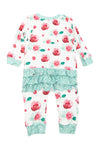 Girls Winter Floral Zip Up Ruffle PJ