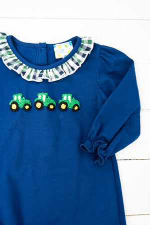 Girls French Knot Tractor Romper