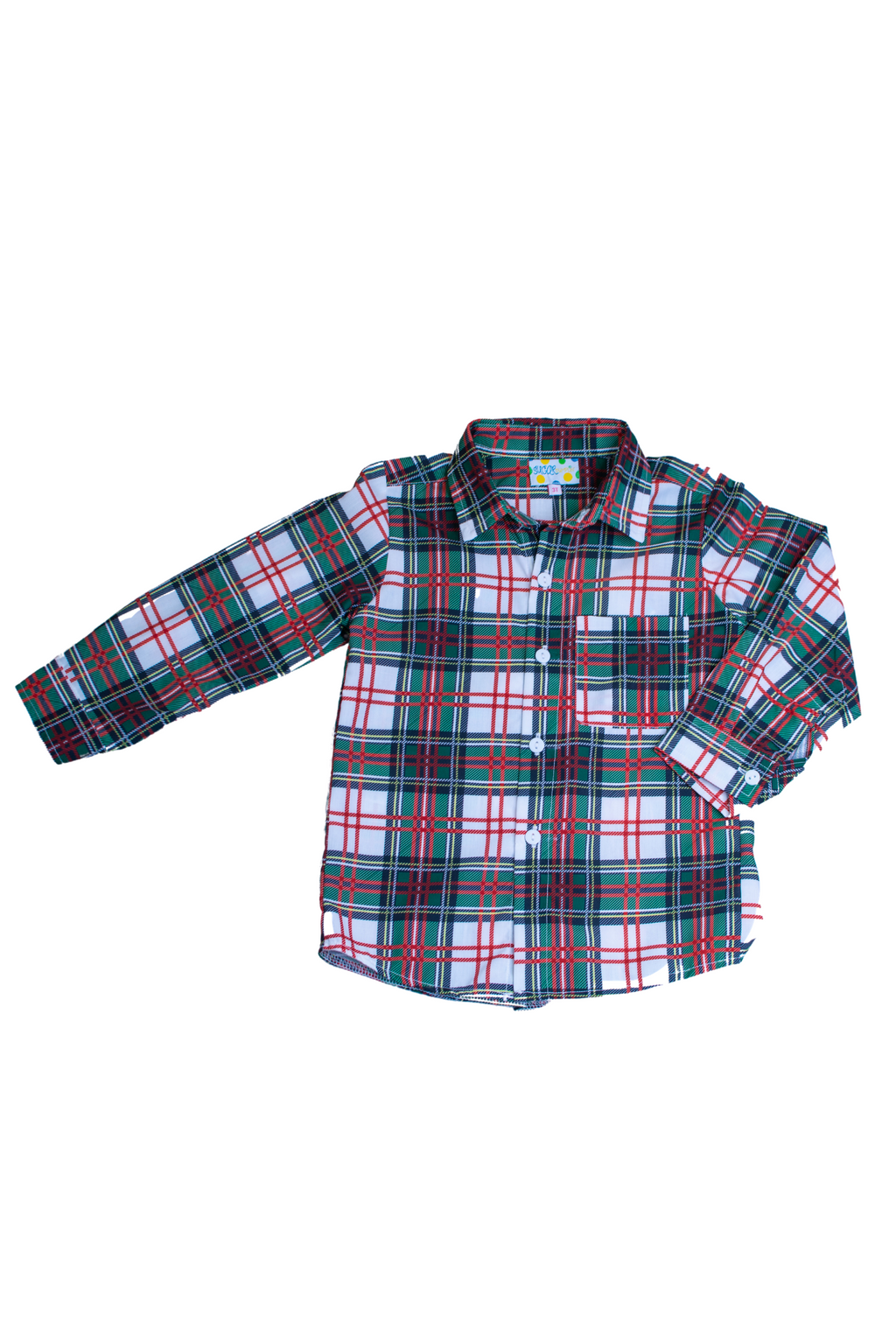 Boys Christmas Plaid Shirt Only