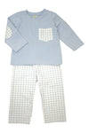 Boys Blue and Check Pants Set