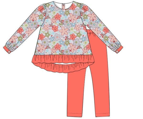 Girls Floral and Coral Pant Set