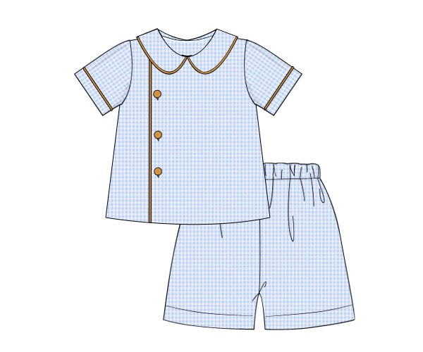 Boys Blue/Khaki Button Top Shorts Set