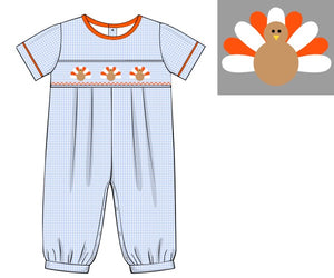 Boys Blue Smocked Turkey Bubble