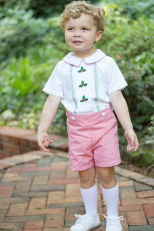 Boys Embroidered Holly Button On Short Set