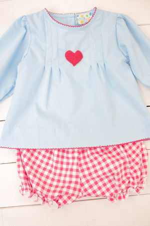 Girls French Knot Heart Bloomer Shorts Set