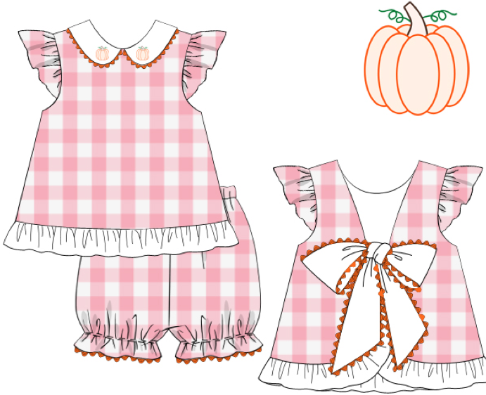 Girls Shadow Embroidery Pumpkin Bloomer Set