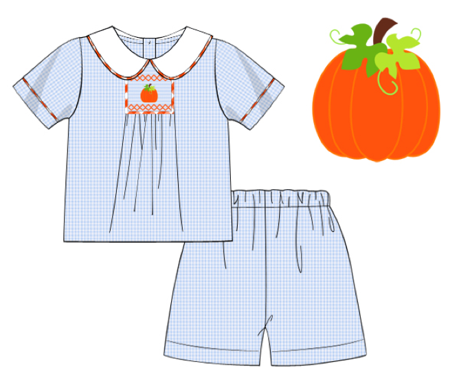 Boys Smocked Pumpkin Shorts Set
