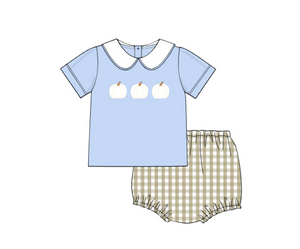 Boys Short Sleeve White Pumpkin Diaper Set