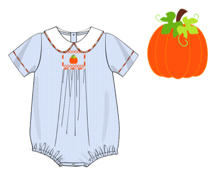 Boys Smocked Pumpkin Bubble
