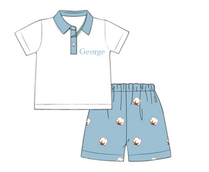 Boys Embroidered Cotton Shorts Set