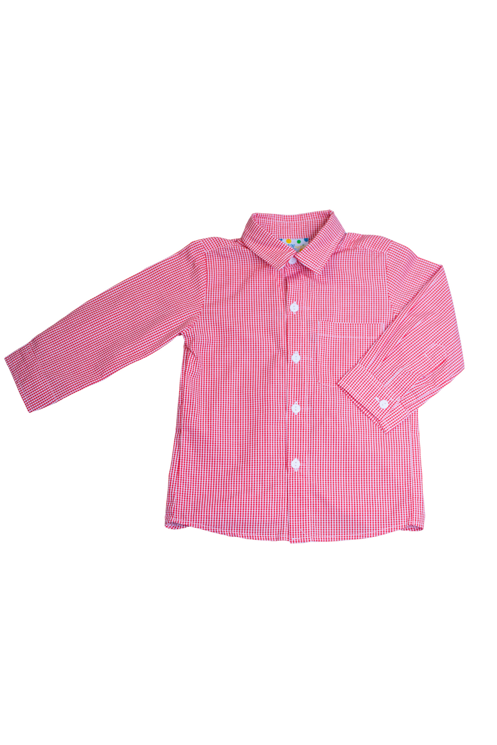 Boys Red Gingham Button Down Shirt Only