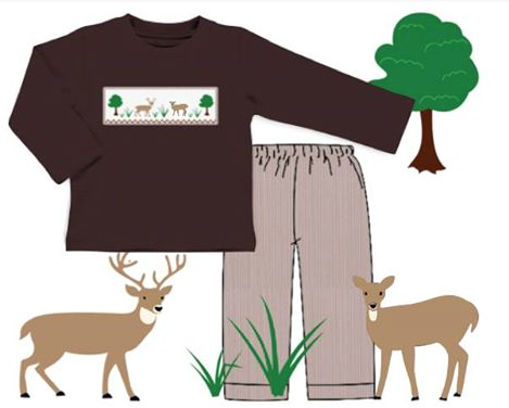 Boys Smocked Deer Pant Set