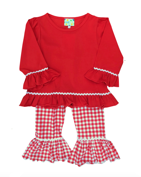 Girls Red Knit Pant Set