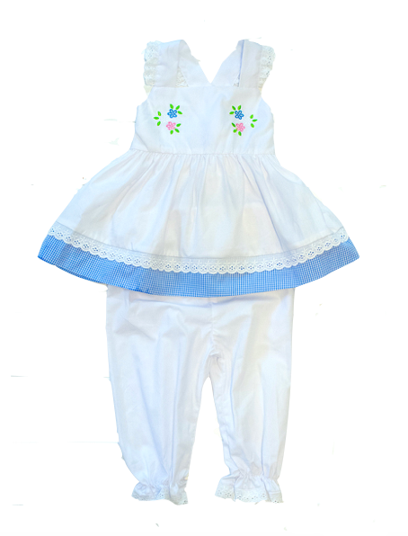 Girls White Embroidered Flower Pantaloon Set