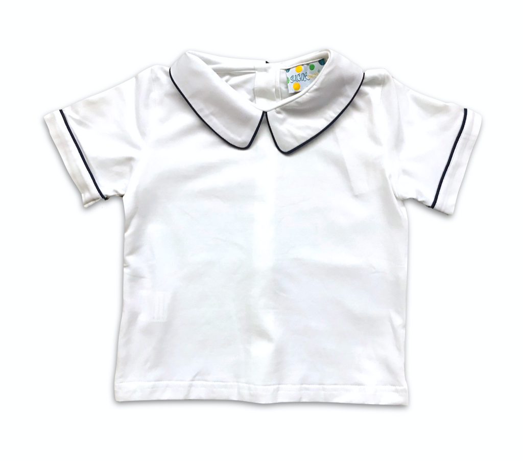 Boys Knit Navy Collared Shirt
