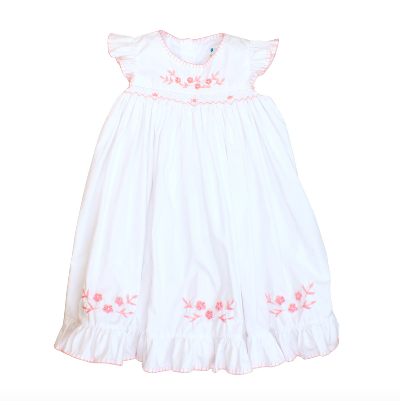 Girls White with Pink Embroidered Flowers Dress
