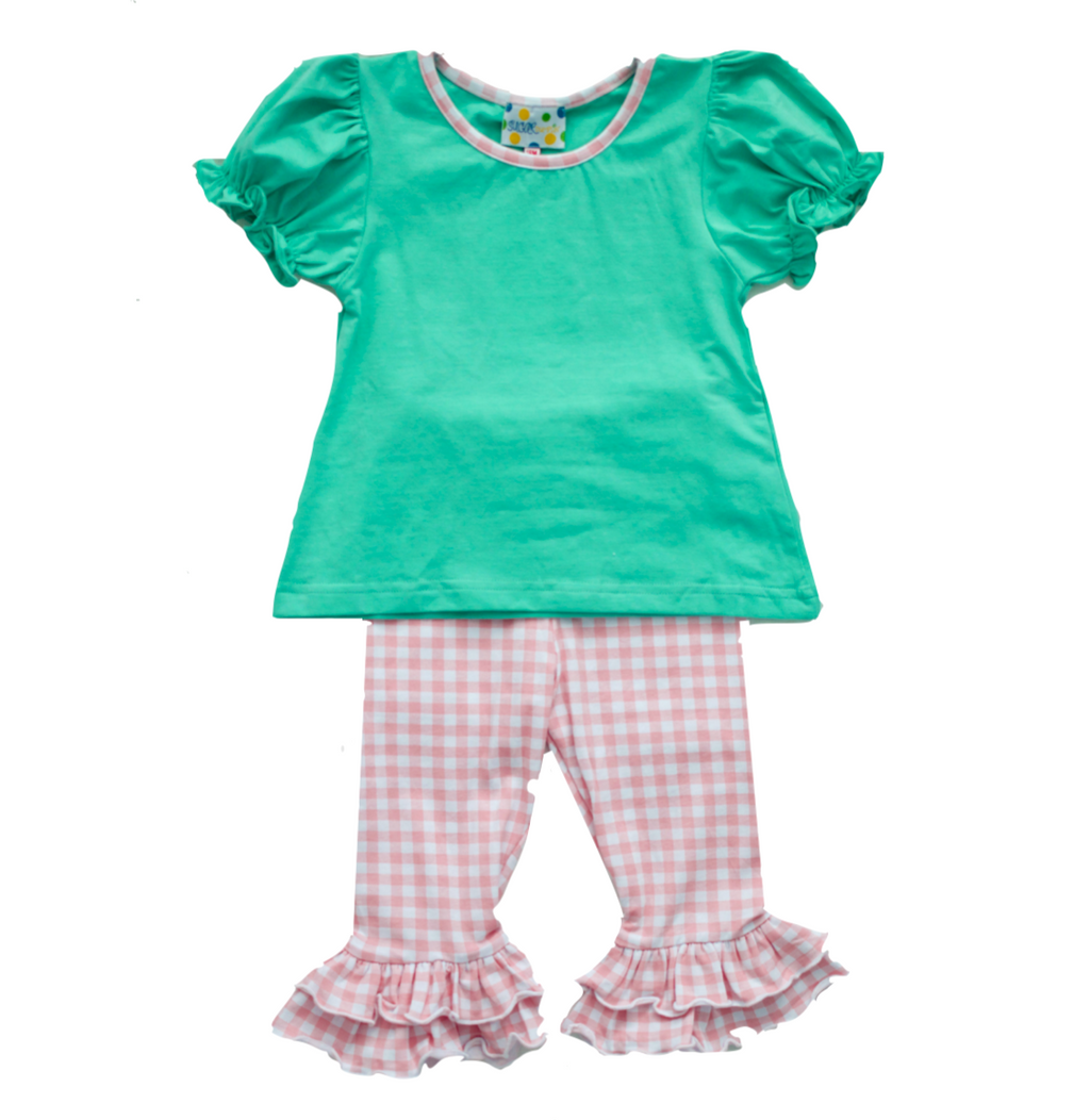 Girls Mint/Pink Check Knit Pant Set
