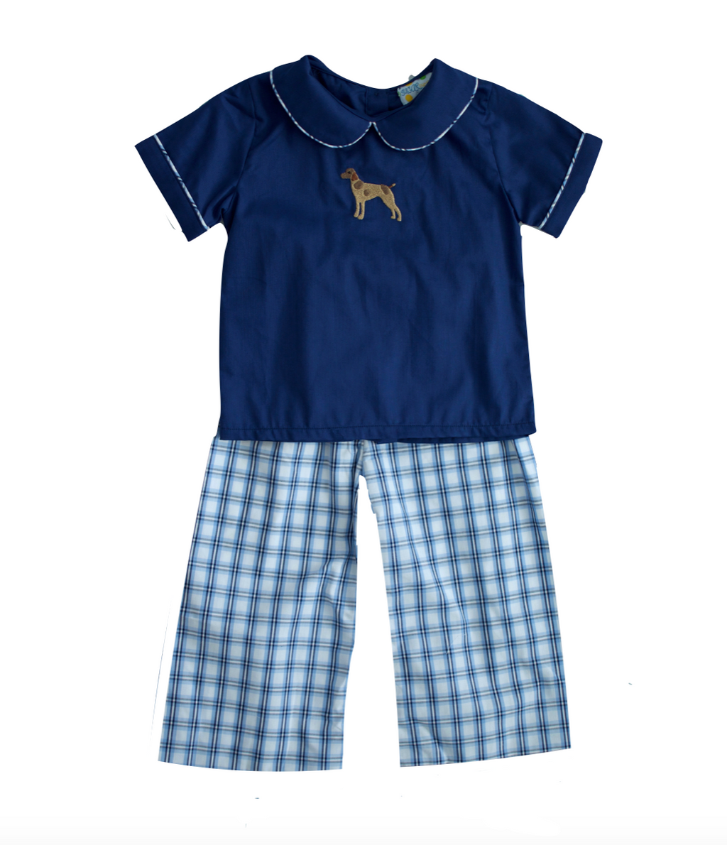 Boys Embroidered Bird Dog Pant Set