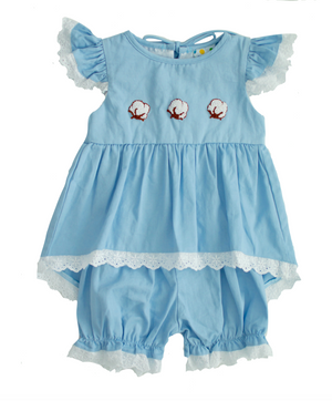 Girls French Knot Cotton Bloomer Set