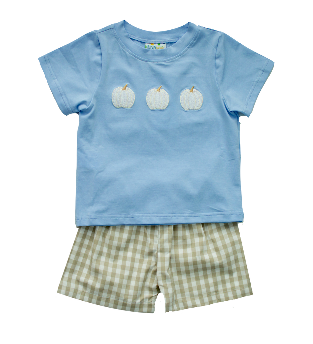 Boys White Pumpkin Short Set
