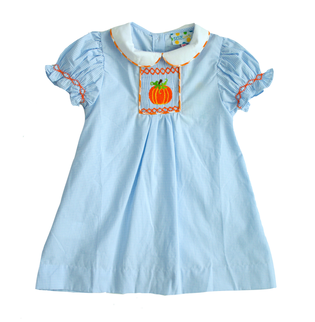 Girls Smocked Pumpkin Dress