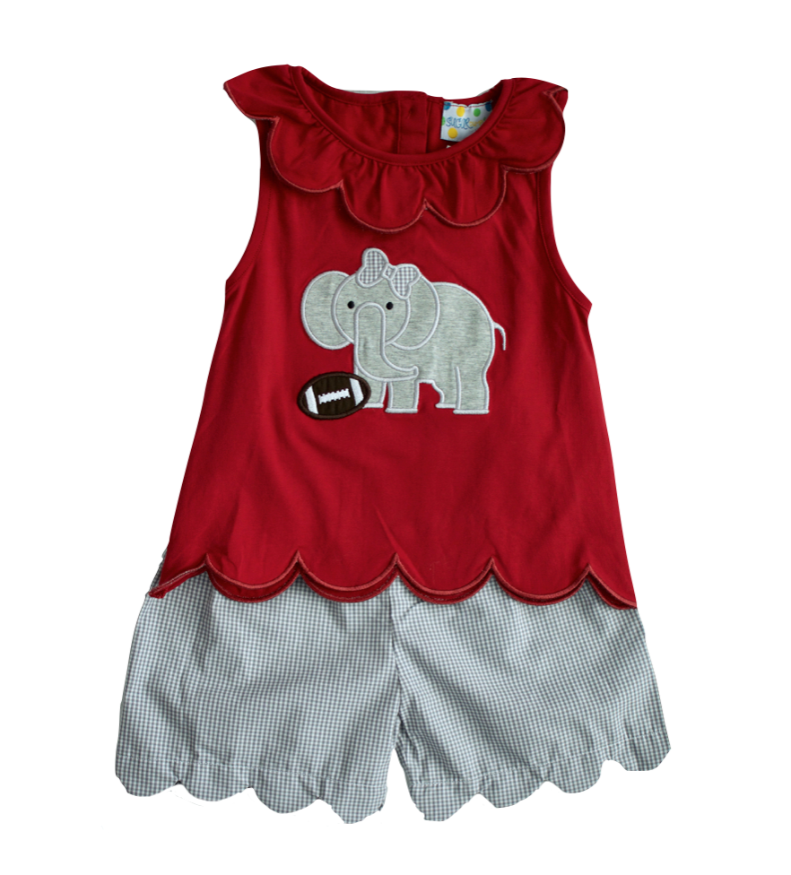 Girls Elephant Applique Short Set