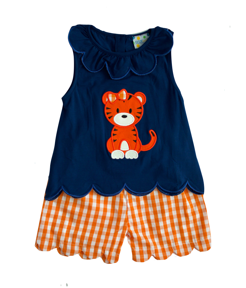 Girls Tiger Applique Short Set