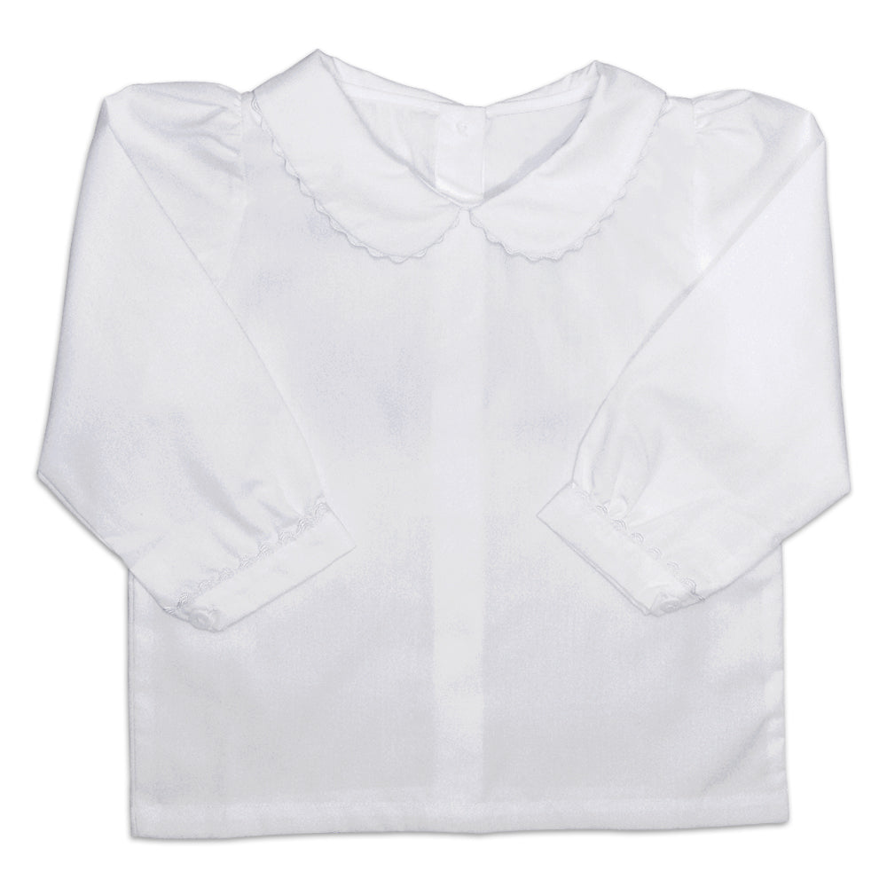 Girls White Collared Long Sleeve Shirt Only