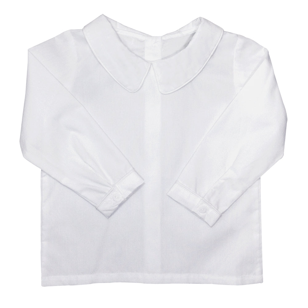 Boys White Collared Long Sleeve Shirt Only