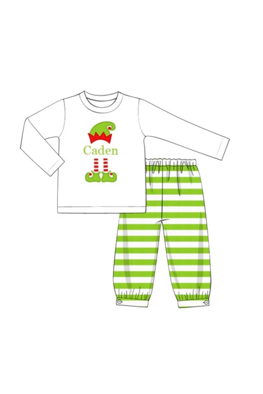 Boys Knit Elf Monogram Pant Set (NO MONOGRAM)