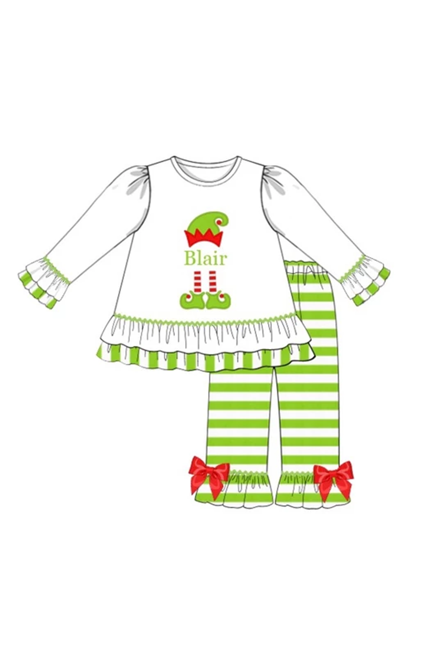 Girls Knit Elf Monogram Pant Set (NO MONOGRAM)