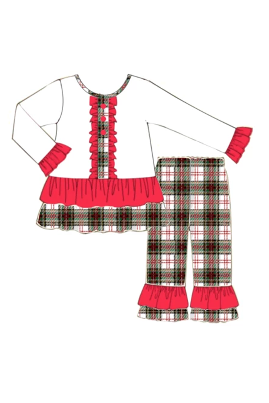 Girls Christmas Plaid Pant Set