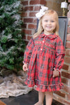 Girls Christmas Plaid Smocked Nightgown