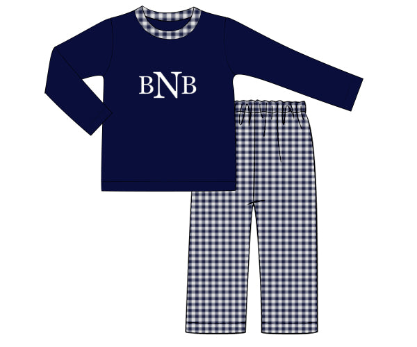 Boys Knit Navy/Check Pant Set