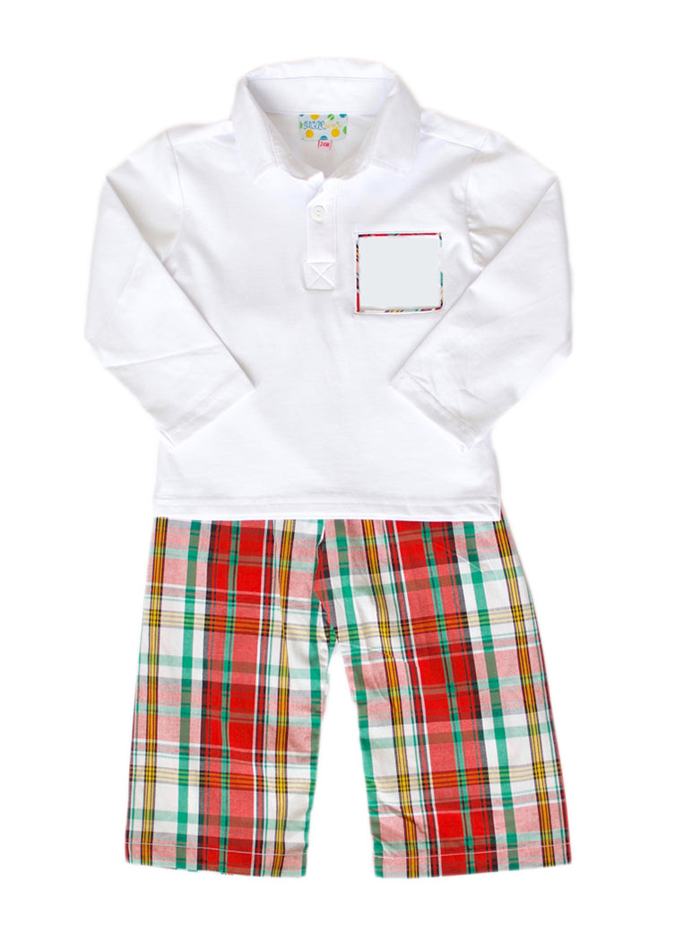 Boys Red/Green Plaid Pant Set