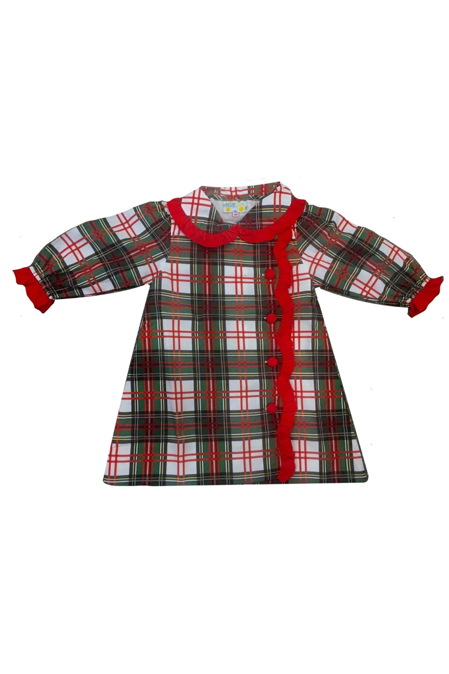 Girls Christmas Plaid Ruffle Dress