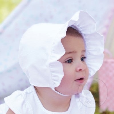 White Cotton Poplin Bonnet