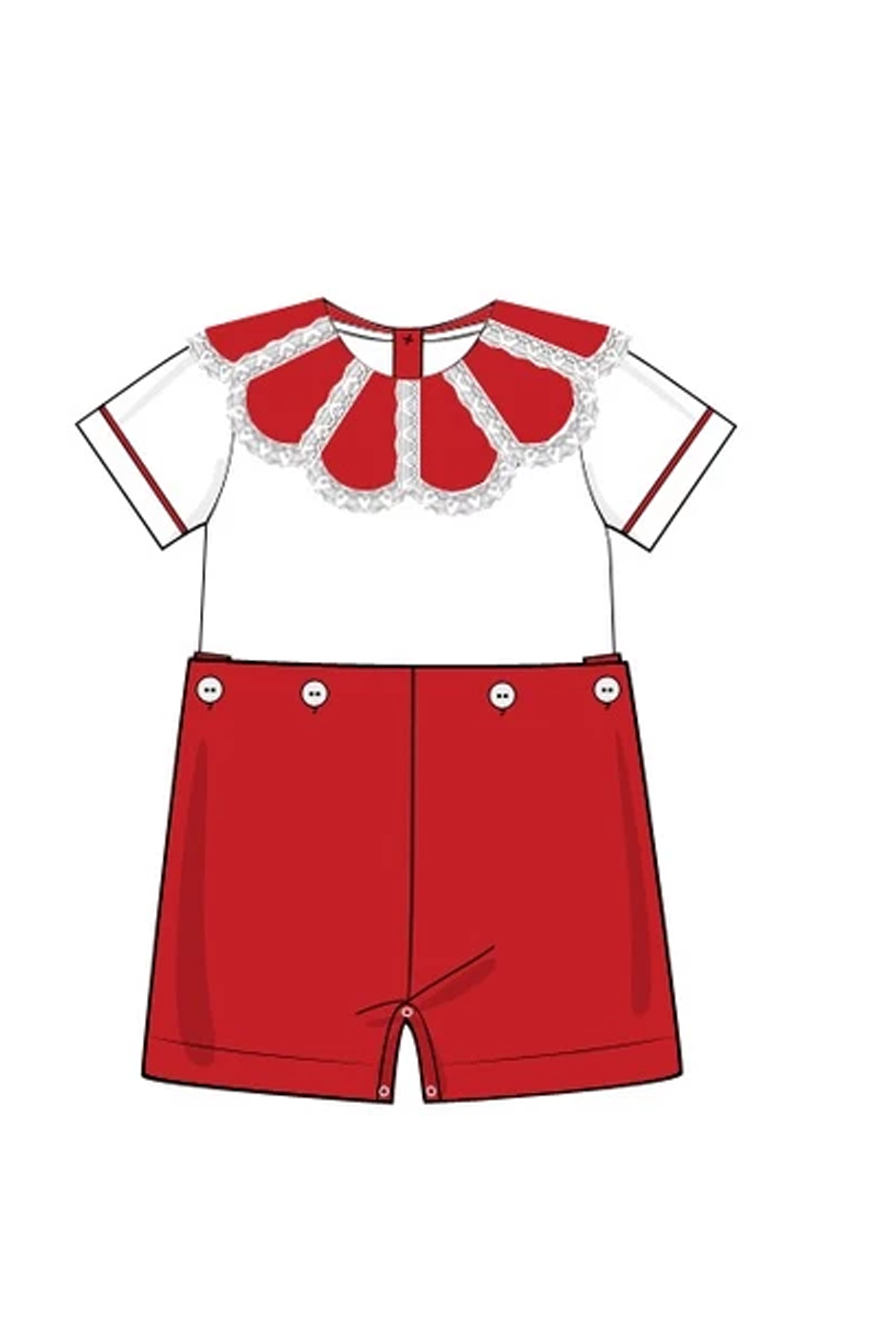 Boys White/Red Lace Collar Button on Short Set