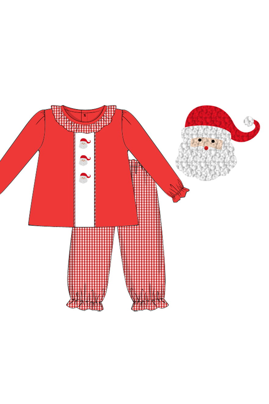 Girls Red French Knot Santa Bubble Pant Set