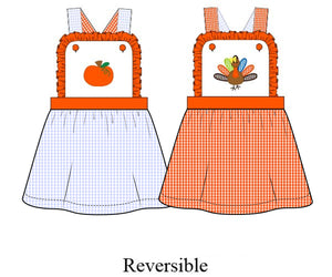 Girls Pumpkin/Turkey Reversible Dress