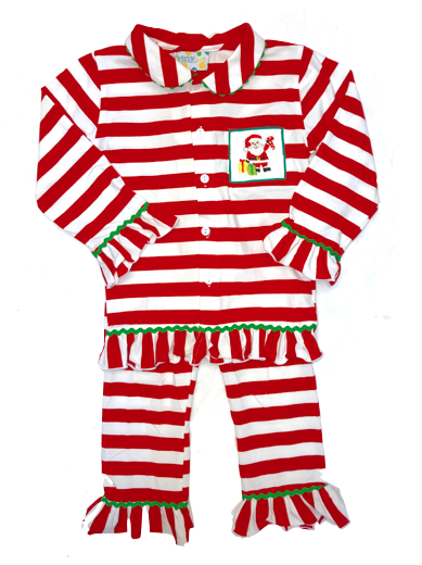 Girls Knit Smocked Santa Pajamas