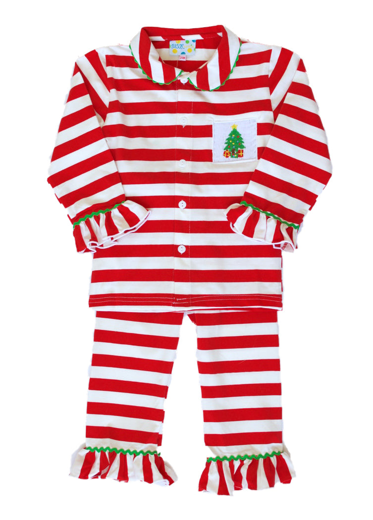 Girls Smocked Tree Striped PJ Pant Set